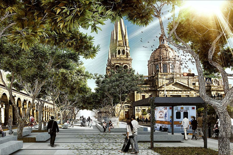Mejora del espacio urbano en el centro de la ciudad de Guadalajara